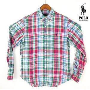 Ralph Lauren plaid linen long sleeve button down